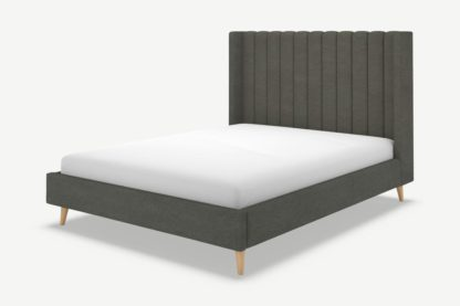 An Image of Cory Double Bed, Granite Grey Boucle with Oak Legs