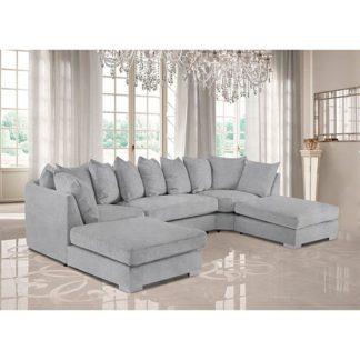 An Image of Boise U-Shape Plush Velour Fabric Corner Sofa In Silver
