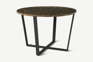An Image of Amble 4 Seat Round Dining Table, Brown Marble Effect & Black
