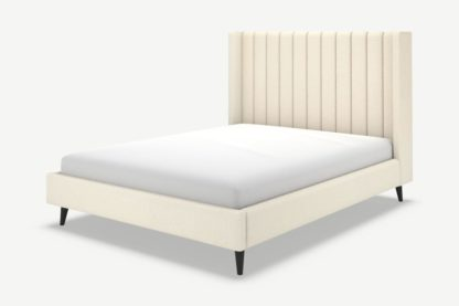 An Image of Cory Double Bed, Ivory White Boucle with Black Stain Oak Legs