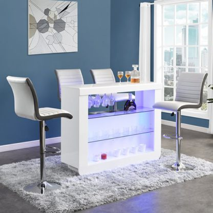 An Image of Fiesta White High Gloss Bar Table With 4 Ritz White Grey Stools