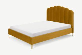 An Image of Delia Double Bed, Marigold Velvet
