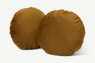 An Image of Julius Set of 2 Round Cushions, 45cm, Dark Ochre