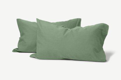 An Image of Tira Linen & Cotton Blend Pair of Pillowcases, Sage Green