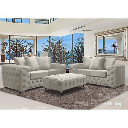 An Image of Worley Velour Fabric 2 Seater And 3 Seater Sofa In Cream
