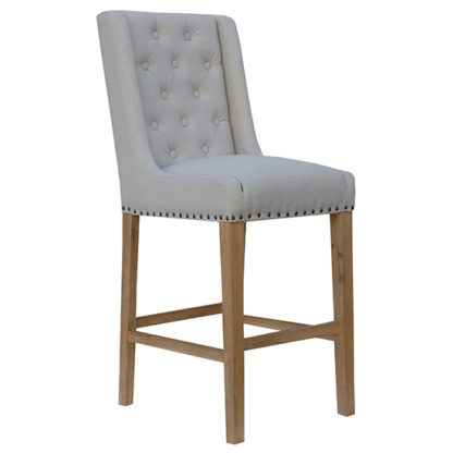 An Image of Rugeley Fabric Button Back Bar Stool In Natural With Studs