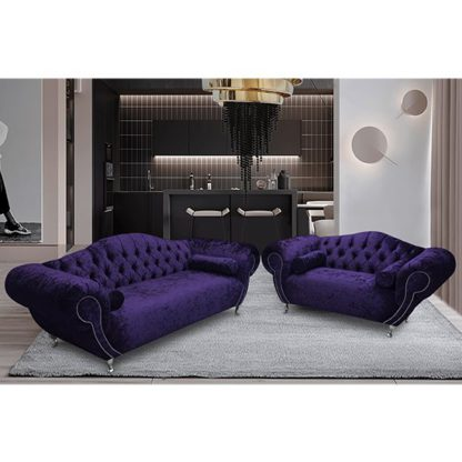 An Image of Huron Velour Fabric 2 Seater And 3 Seater Sofa In Ameythst