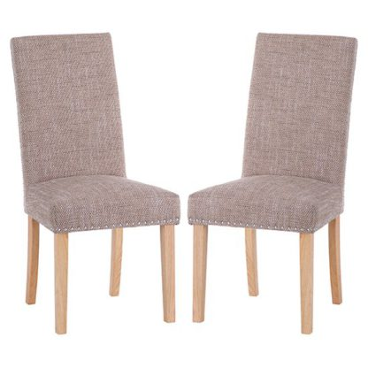 An Image of Norcross Tweed Fabric Studded Dining Chairs In Pair