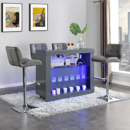 An Image of Fiesta Grey High Gloss Bar Table With 4 Candid Grey Stools