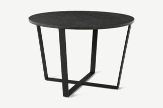 An Image of Amble 4 Seat Round Dining Table, Black Marble Effect & Black