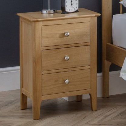An Image of Cotswold Bedside Cabinet In Oak With 3 Drawers