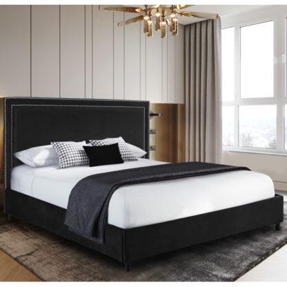 An Image of Sensio Plush Velvet Super King Size Bed In Black