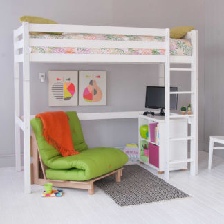 An Image of Buddy Childrens Beech Highsleeper Loft Bed With Storage Bookcase and Futon Chair Bed