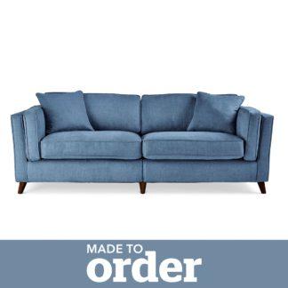 An Image of Arabella 4 Seater Sofa Brushed Plain Fabric Blue