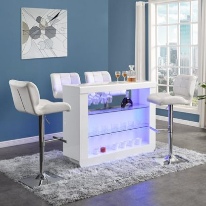 An Image of Fiesta White High Gloss Bar Table With 4 Candid White Stools