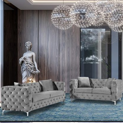 An Image of Mills Velour Fabric 2 Seater And 3 Seater Sofa In Silver