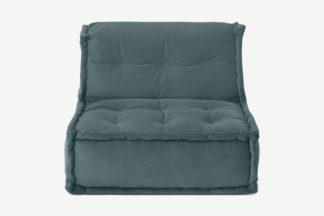 An Image of Sully Modular Floor Cushion, Marine Green Velvet