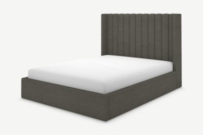 An Image of Cory Double Ottoman Storage Bed, Granite Grey Boucle