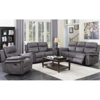 An Image of Richmond 3 Seater Sofa And 2 Armchairs Suite In Graphite Grey