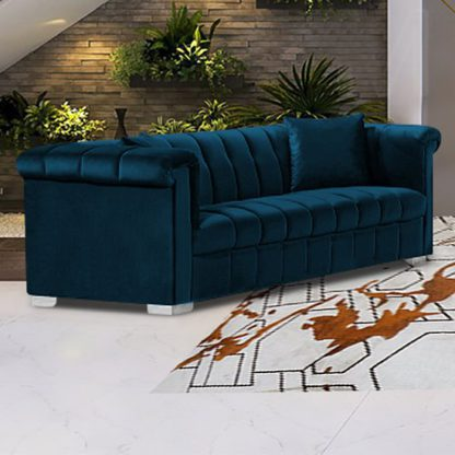 An Image of Kenosha Malta Plush Velour Fabric 3 Seater Sofa In Peacock