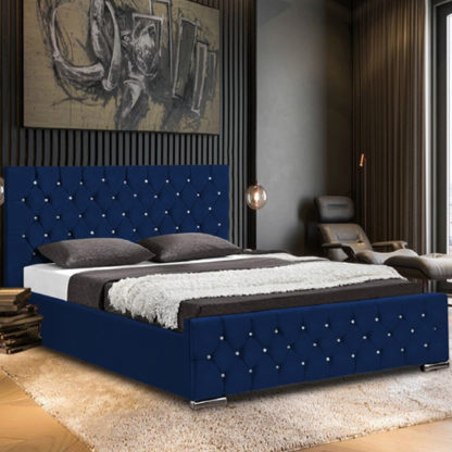 An Image of Papillion Plush Velvet Small Double Bed In Blue