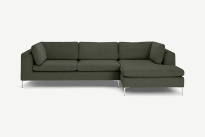 An Image of Monterosso Right Hand Facing Chaise End Sofa, Sage Corduroy Velvet