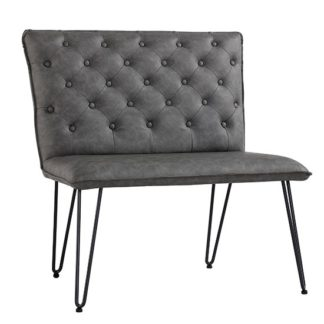 An Image of Wichita Faux Leather Small Dining Bench In Grey