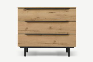 An Image of Damien Chest of Drawers, Distressed Oak Effect & Black
