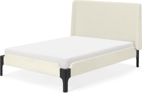 An Image of Roscoe Super King Size Bed, Whitewash Boucle & Black Stain Beech