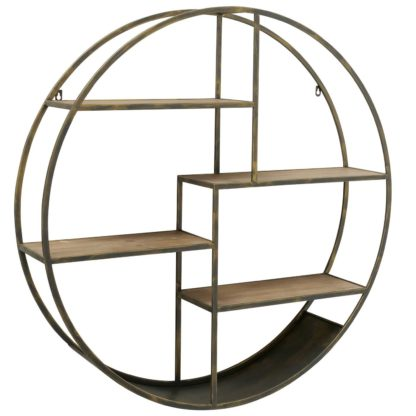 An Image of Round Wall Shelf, Antique Brass and Wood