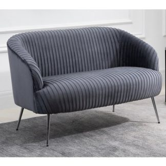 An Image of Layla Fabric Upholstered 2 Seater Sofa In Grey