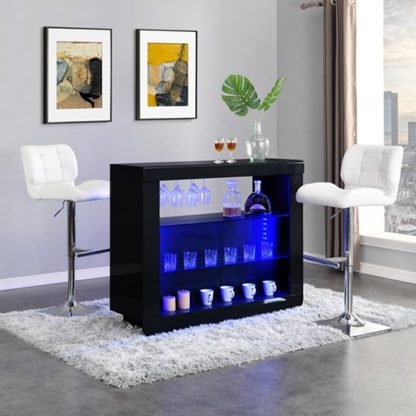 An Image of Fiesta Black High Gloss Bar Table With 2 Candid White Stools