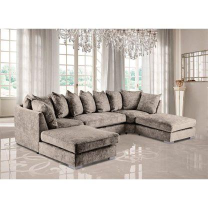 An Image of Boise U-Shape Chenille Fabric Corner Sofa In Champagne