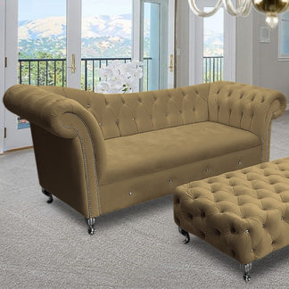 An Image of Izu Plush Velvet 3 Seater Sofa In Parchment