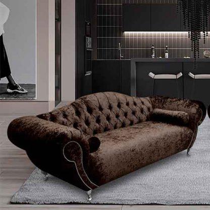An Image of Huron Malta Plush Velour Fabric 3 Seater Sofa In Taupe
