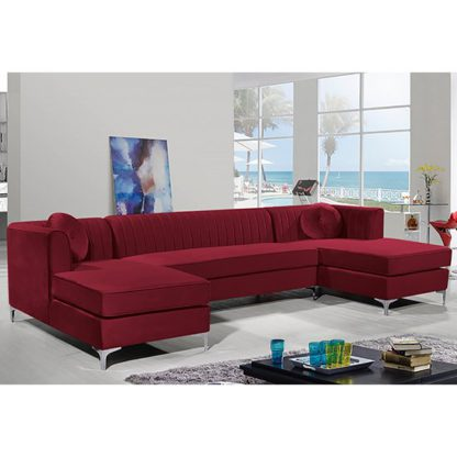 An Image of Asbury U-Shape Plush Velvet Corner Sofa In Red