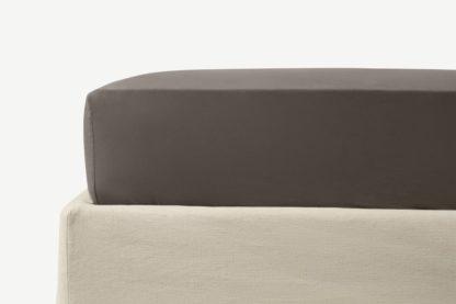 An Image of Zana 100% Organic Cotton Stonewashed Fitted Sheet, King, Anthracite Grey