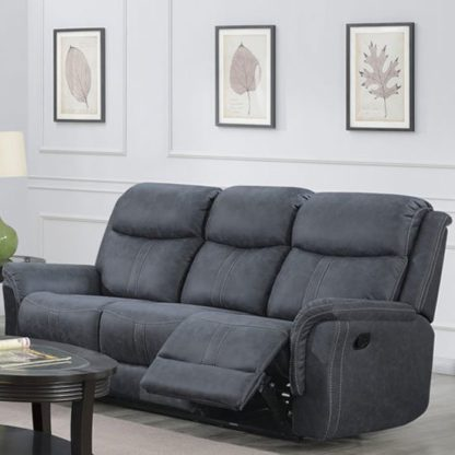 An Image of Portland Fabric 3 Seater Recliner Sofa In Slate Grey