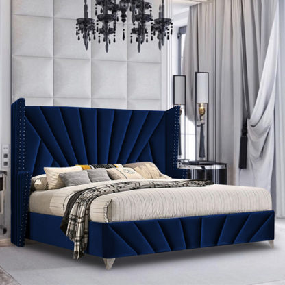 An Image of Pikeville Plush Velvet King Size Bed In Blue