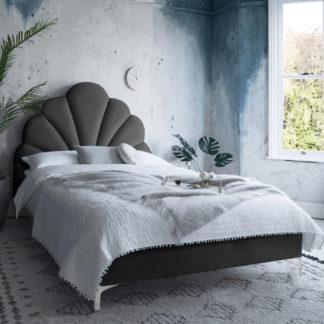 An Image of Hartington Plush Velvet Single Bed In Black