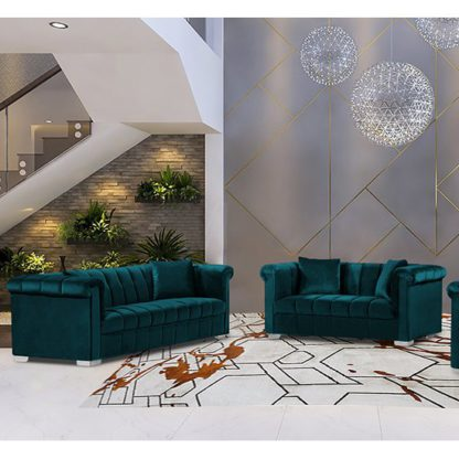 An Image of Kenosha Velour Fabric 2 Seater And 3 Seater Sofa In Emerald