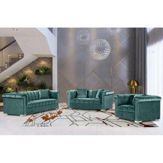 An Image of Kenosha Malta Plush Velour Fabric Sofa Suite In Seaspray