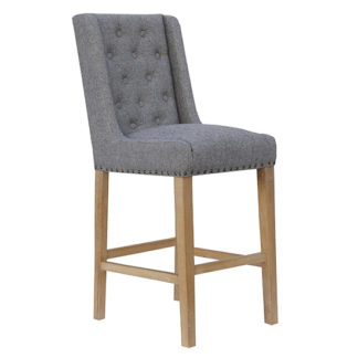 An Image of Rugeley Fabric Button Back Bar Stool In Light Grey With Studs