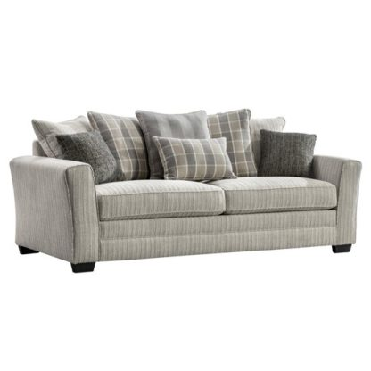 An Image of Braemar Fabric 3 Seater Sofa In Beige With Scatter Cushions
