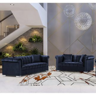 An Image of Kenosha Velour Fabric 2 Seater And 3 Seater Sofa In Slate