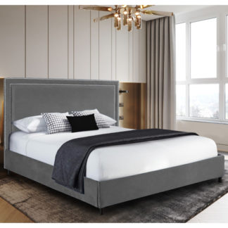 An Image of Sensio Plush Velvet Small Double Bed In Grey