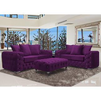 An Image of Worley Velour Fabric 2 Seater And 3 Seater Sofa In Boysenberry