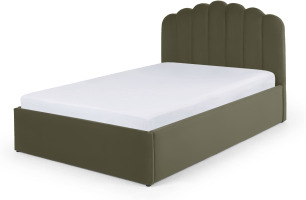 An Image of Delia Super King Size Ottoman Storage Bed, Sycamore Green Velvet