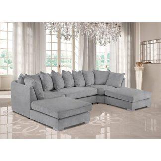 An Image of Boise U-Shape Plush Velvet Corner Sofa In Silver