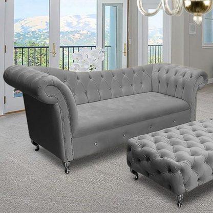 An Image of Izu Plush Velvet 3 Seater Sofa In Grey